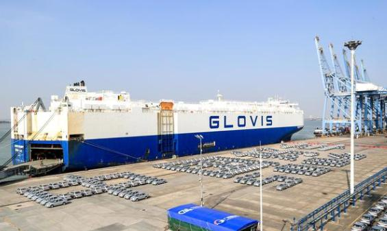 Guangdong nice car held the first export ceremony of 500 used cars to Africa at Xinsha port company, Guangzhou Port